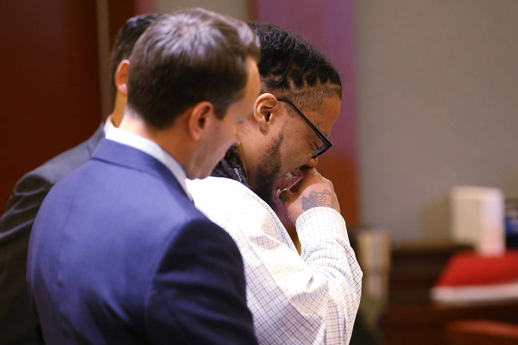 Ray Charles Brown cries as he reads a letter during the penalty phase of his capital trial at t ...