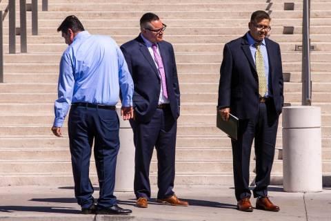 Defendants Bradley Campos, left, Diego Garcia and Cesar Morales depart the Lloyd George U.S. Co ...