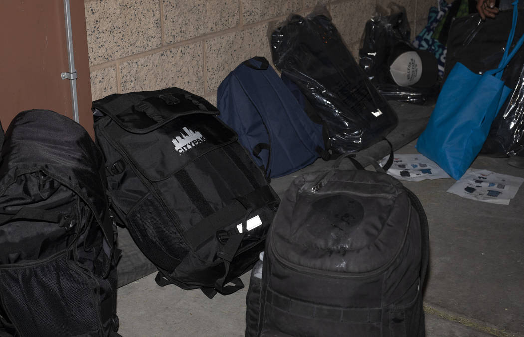 CITYPAK backpacks sit outside the Las Vegas Rescue Mission on Saturday, Feb. 2020 in Las Vegas. ...