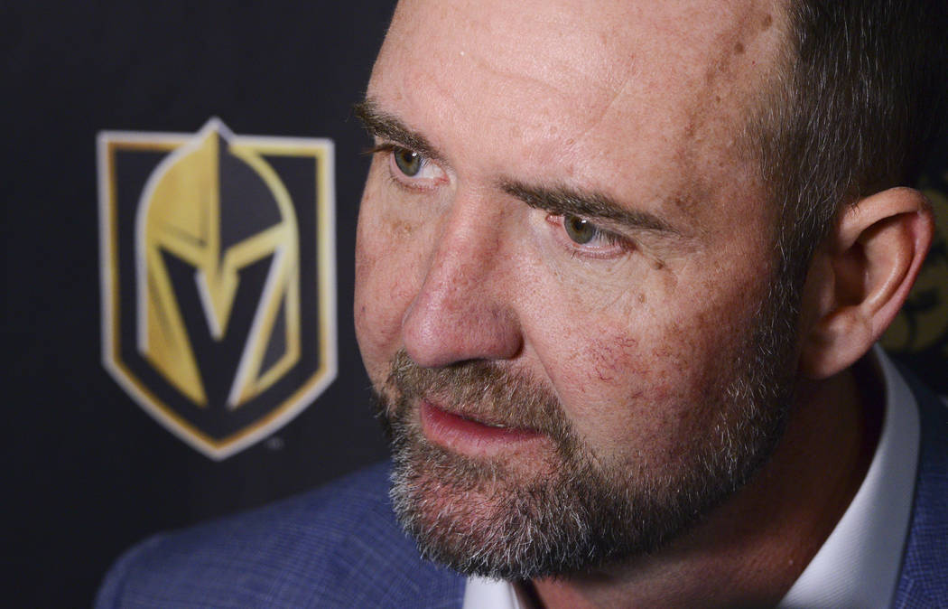 Vegas Golden Knights new head coach Peter DeBoer talks to media after defeating the Ottawa Sena ...