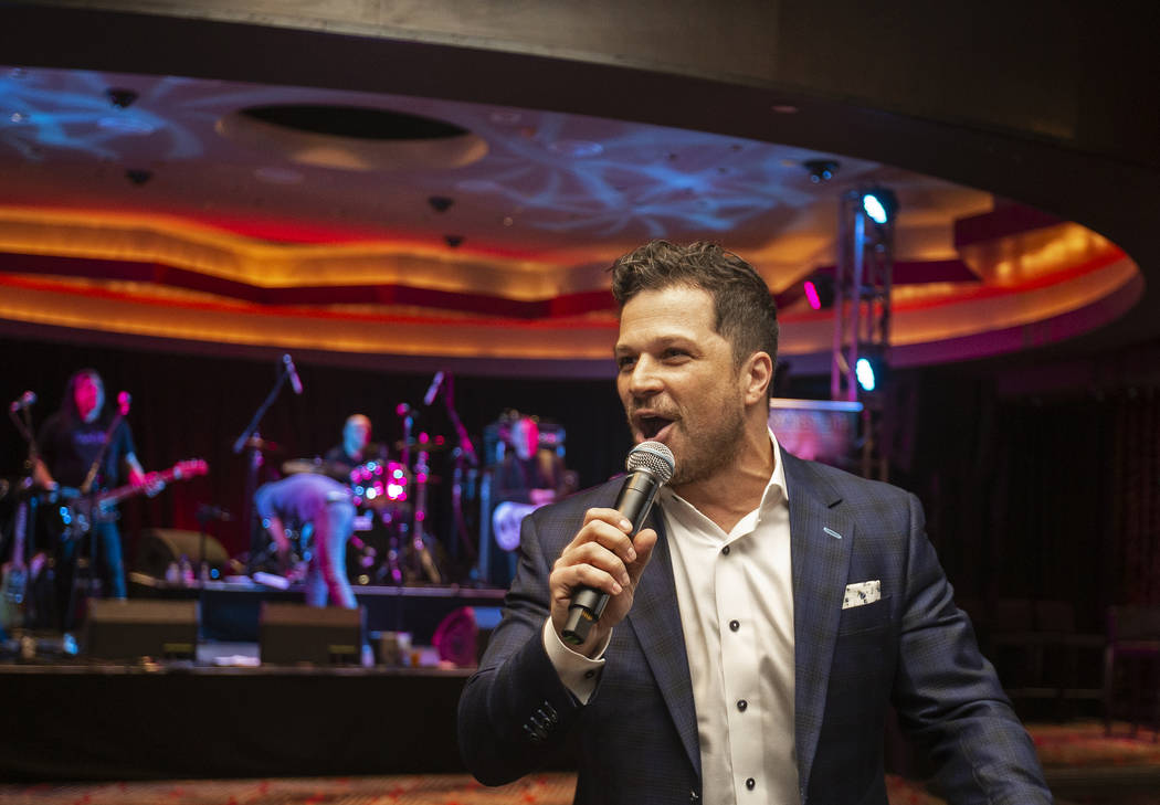 Host Mark Shunock speaks during an event to say goodbye to the Hard Rock Hotel on Saturday, Feb ...