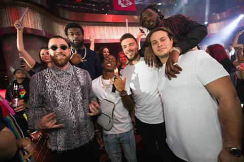 Members of the Kansas City Chiefs are shown partying at Jewel Nightclub at Aria on Friday, Feb. ...