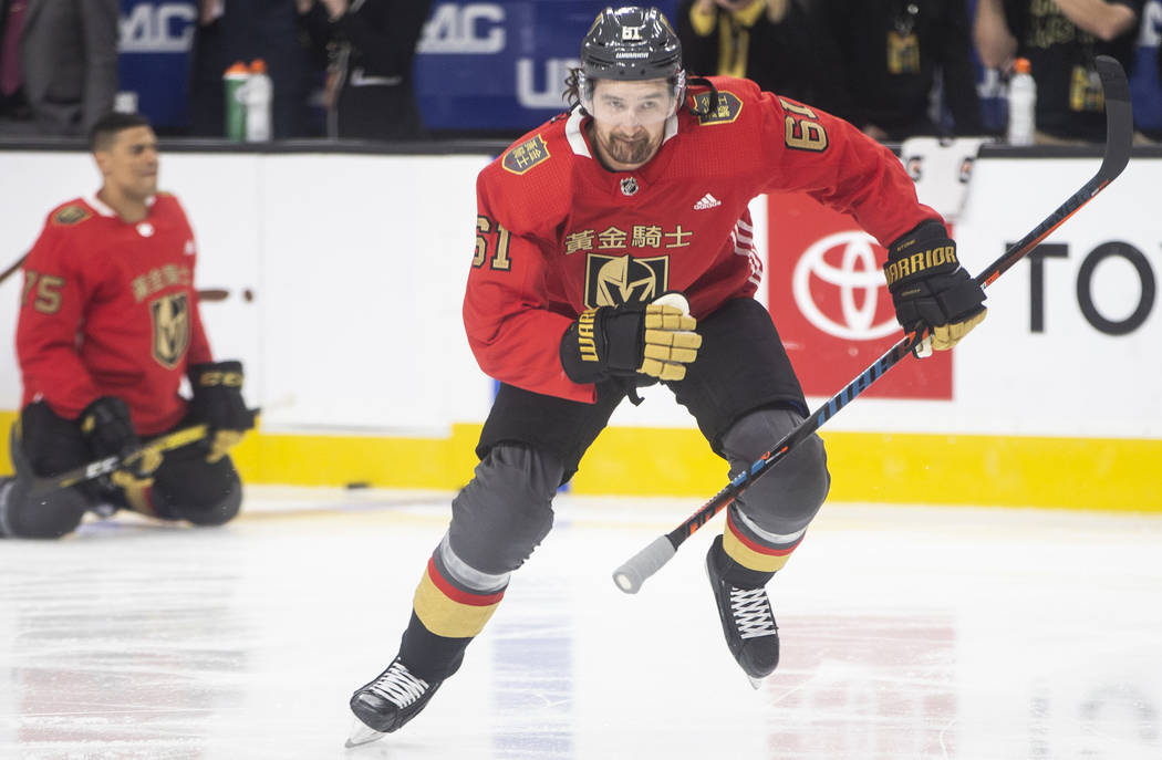 Vegas Golden Knights right wing Mark Stone (61) wears a jersey commemorating Chinese New Year d ...