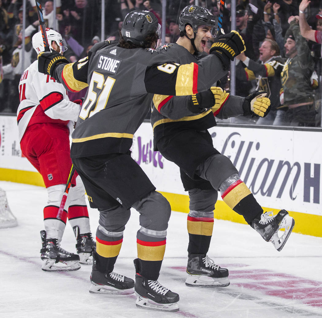 Vegas Golden Knights left wing Max Pacioretty (67) celebrates with Vegas Golden Knights right w ...