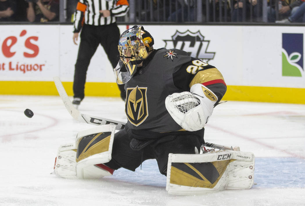 Vegas Golden Knights goaltender Marc-Andre Fleury (29) makes a save in the second period during ...
