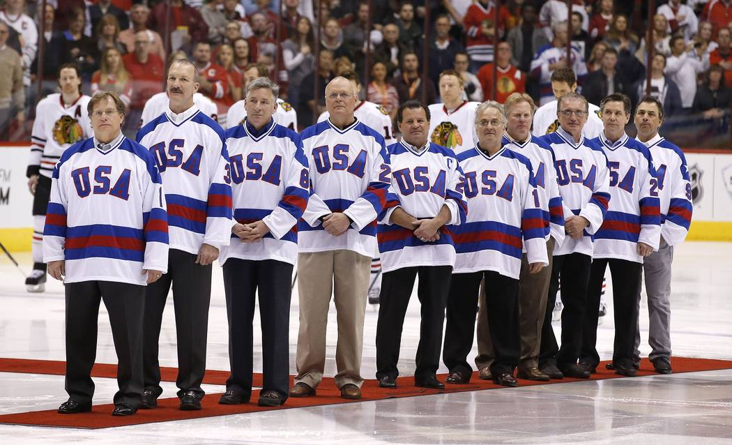 """Members of the gold medal 1980 """"Miracle on Ice"""" U.S. Olympic hockey team are honored ..."""