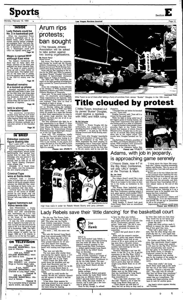 The Review-Journal sports page on Feb. 11, 1990.