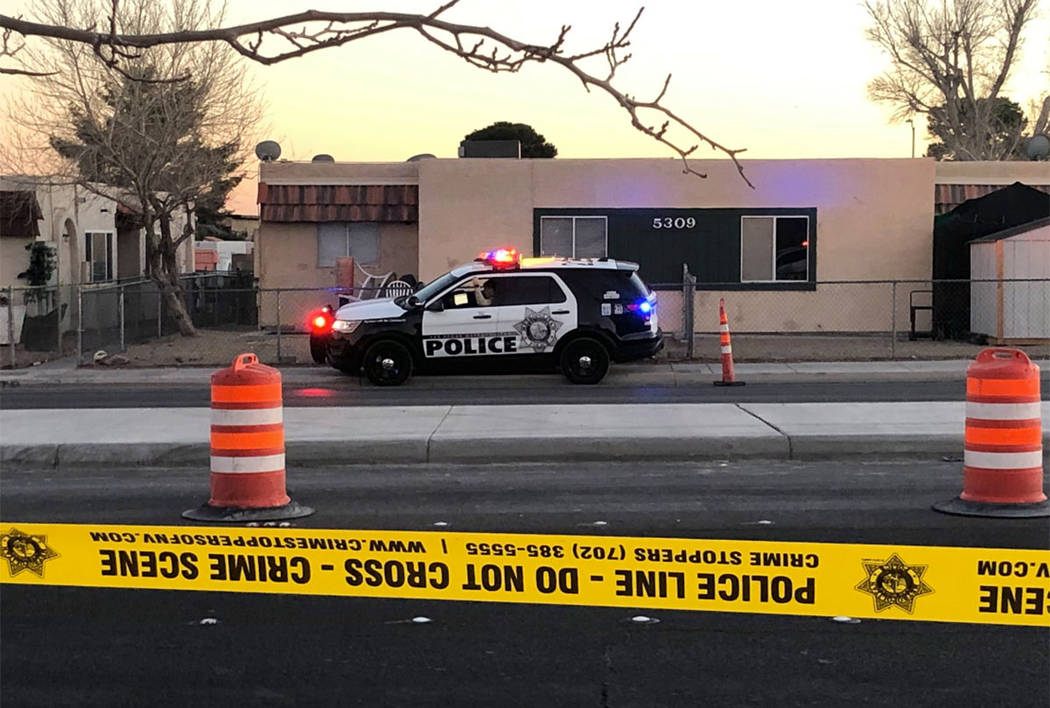 Police investigate a shooting near Cheyenne Avenue and Michael Way on Saturday, Feb. 8, 2019. ( ...