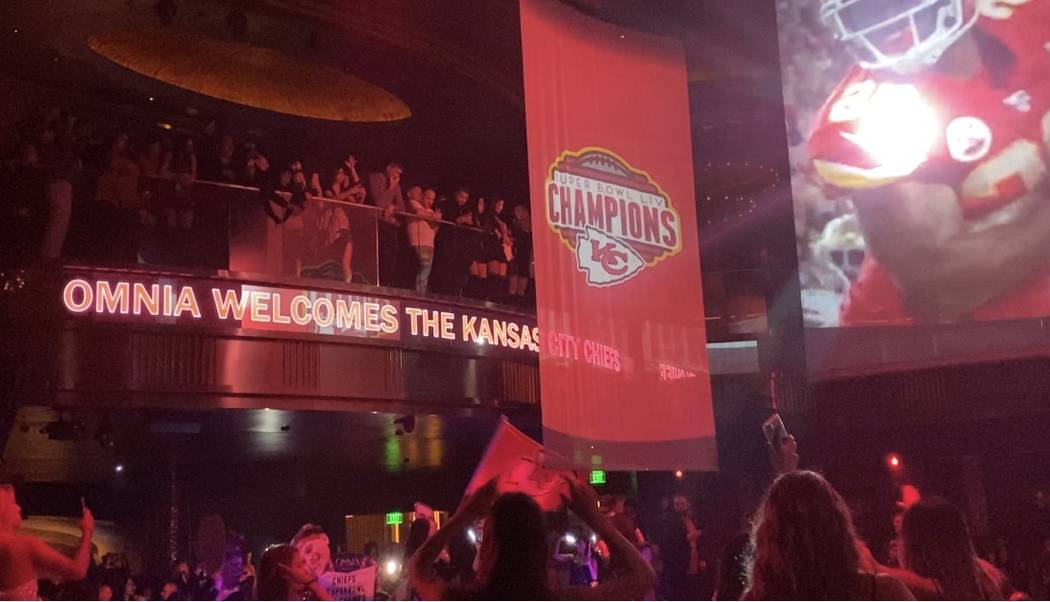 The scene at the Kansas City Chiefs' victory party at Omnia Nightclub at Caesars Palace on Satu ...