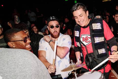 Tight end Travis Kelce is shown at Omnia Nightclub at Caesars Palace on Saturday, Feb. 8, 2020. ...