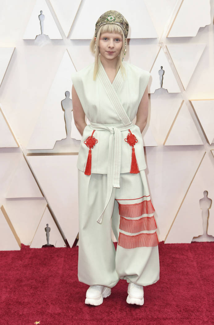 Aurora arrives at the Oscars on Sunday, Feb. 9, 2020, at the Dolby Theatre in Los Angeles. (Pho ...