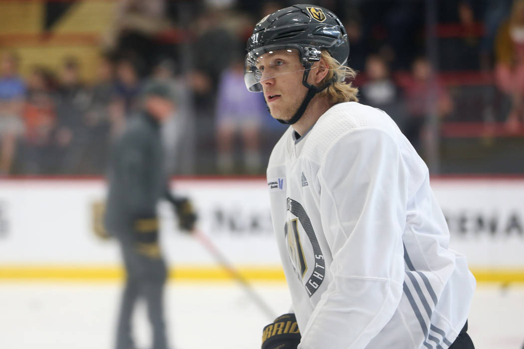 Vegas Golden Knights forward William Karlsson (71) during a team practice at City National Aren ...