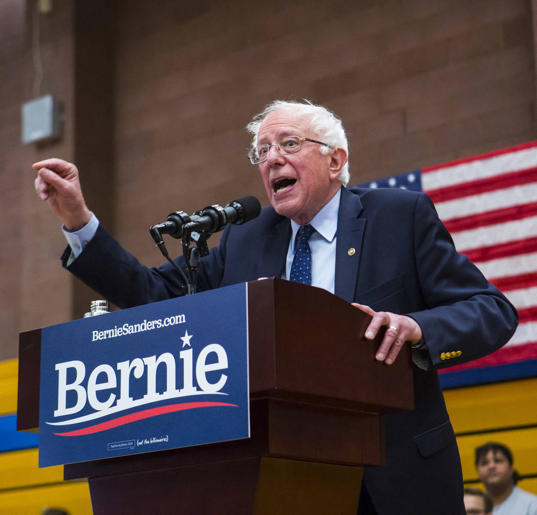 Democratic presidential candidate Sen. Bernie Sanders. (Chase Stevens/Las Vegas Review-Journal) ...