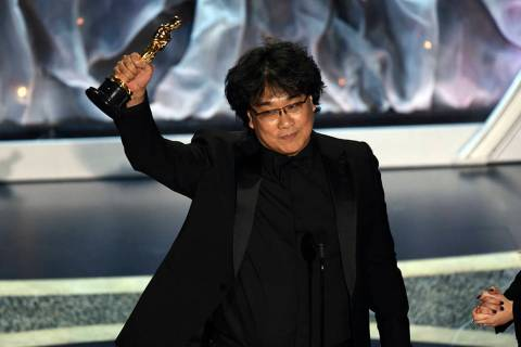"Bong Joon Ho accepts the award for best international feature film for ""Parasite,"" fr ..."