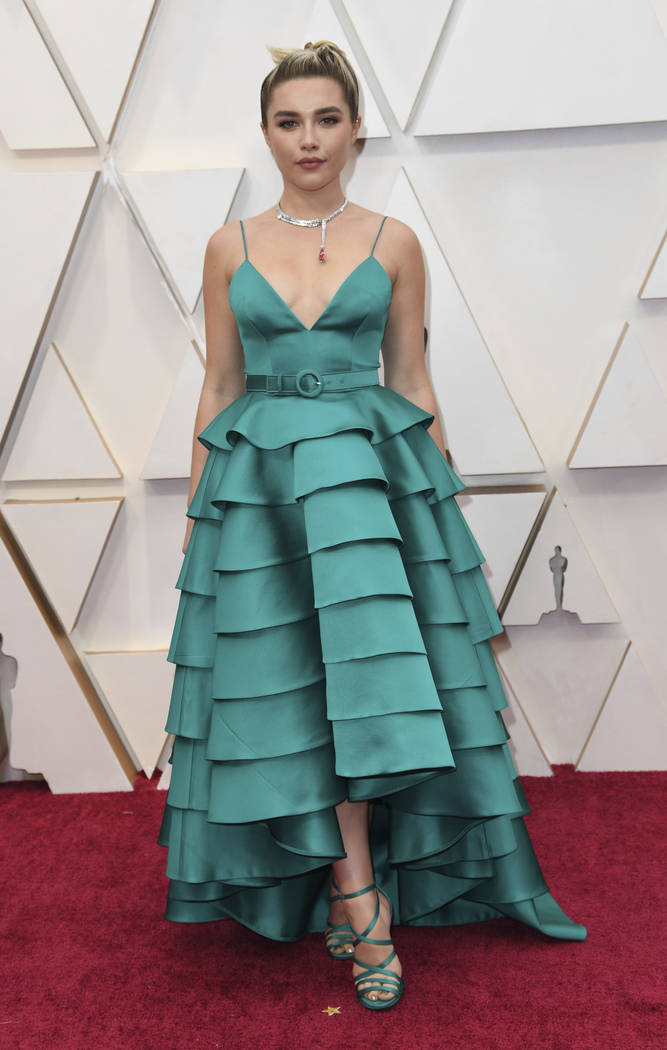 Florence Pugh arrives at the Oscars on Sunday, Feb. 9, 2020, at the Dolby Theatre in Los Angele ...