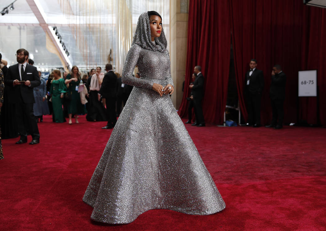 Janelle Monae arrives at the Oscars on Sunday, Feb. 9, 2020, at the Dolby Theatre in Los Angele ...