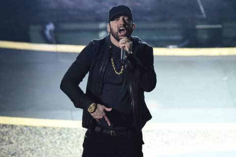 "Eminem performs ""Lose Yourself"" at the Oscars on Sunday, Feb. 9, 2020, at the Dolby T ..."