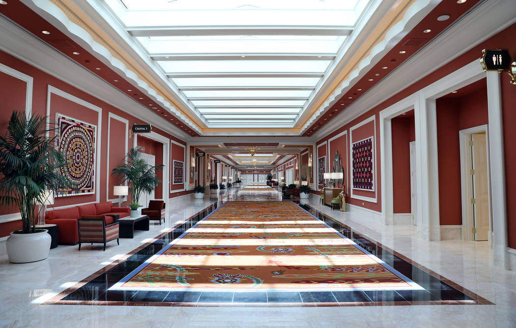 A skylight lit conference room hallway is seen at the Wynn Las Vegas Conference Center on Monda ...
