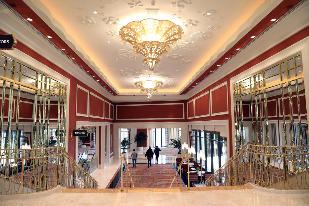 Mirrors line the walls of a hallway in the Wynn Las Vegas Conference Center, on Monday, Feb. 10 ...