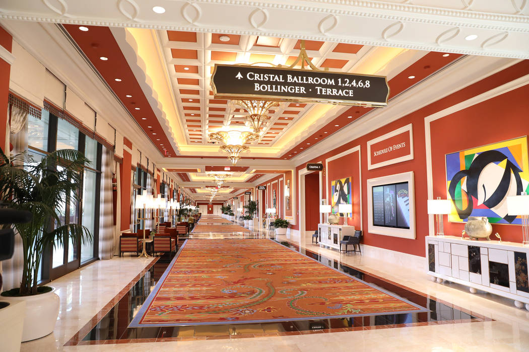 A conference room hallway is lined with art the Wynn Las Vegas Conference Center on Monday, Feb ...