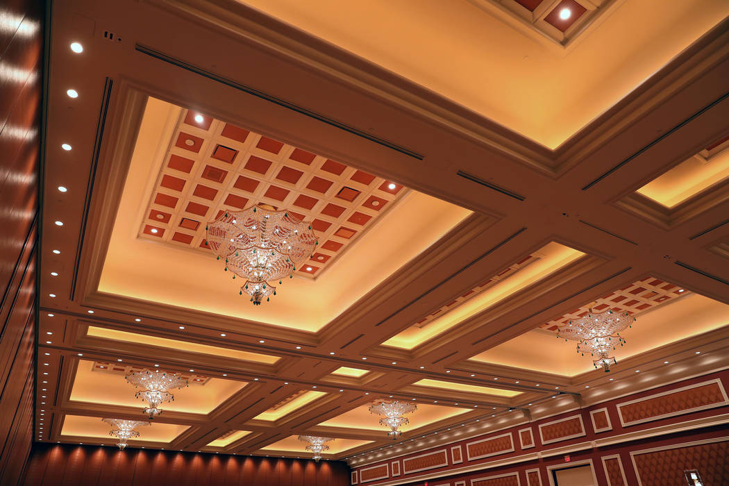 Chandeliers hang in the Pillar-less Ballroom at the Wynn Las Vegas Conference Center on Monday, ...