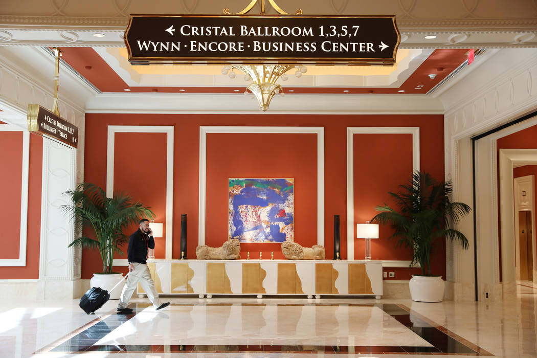 A hallway of the Wynn Las Vegas Conference Center is seen on Monday, Feb. 10, 2020, at the Wynn ...