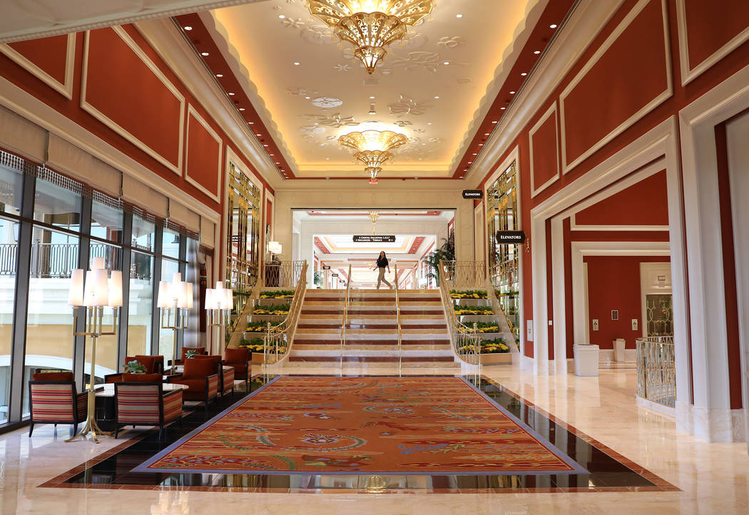 A hallway connecting the second and first floor of the Wynn Las Vegas Conference Center is seen ...