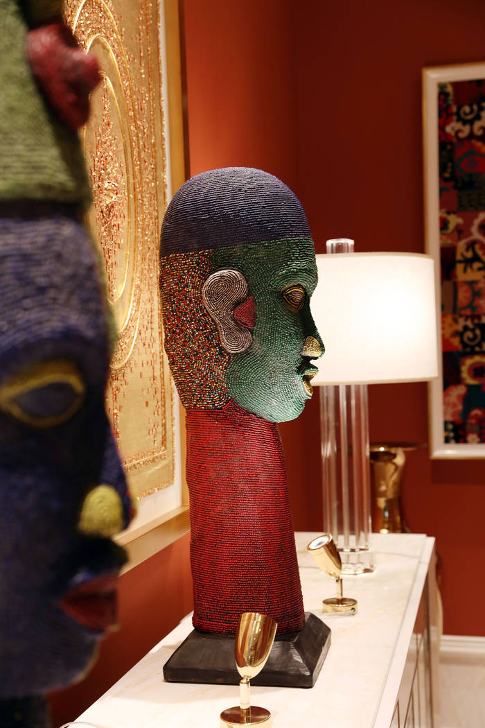 Beaded sculptors and hand-sewn tapestries are seen in the Wynn Las Vegas Conference Center on M ...