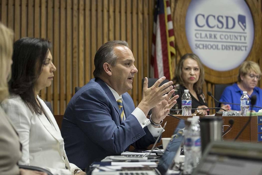 Clark County School Superintendent Dr. Jesus Jara, third from left, addresses the Clark County ...