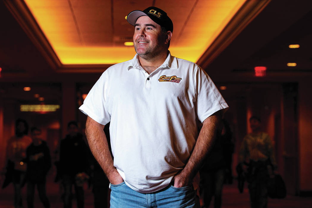 NASCAR driver Brendan Gaughan poses for a portrait at South Point in Las Vegas on Wednesday, Fe ...
