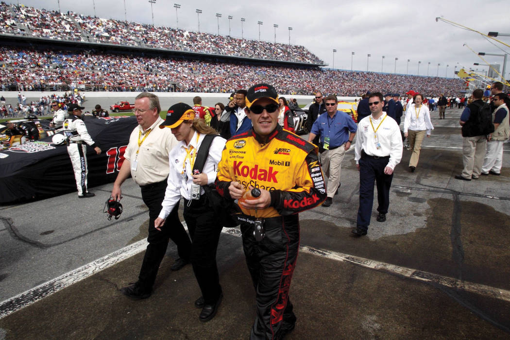 NASCAR Nextel Series Cup driver Brendan Gaughan, from Las Vegas, walks on pit road before compe ...