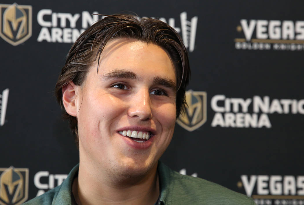 Golden Knights' rookie defenseman Zach Whitecloud smiles as he speaks to the media at Ci ...