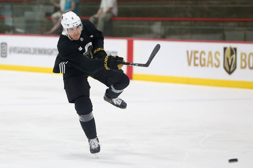 Vegas Golden Knights defenseman Zach Whitecloud (2) during a team practice at City National Are ...