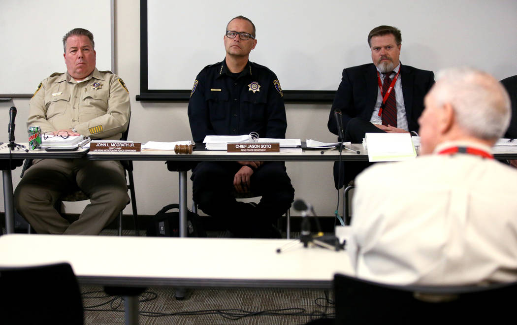 Members of the State of Nevada Commission on Peace Officer Standards and Training, including La ...