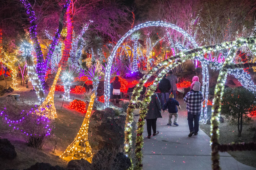 Attendees of the third annual Lights of Love take in the Valentine's Day-themed decorations at ...