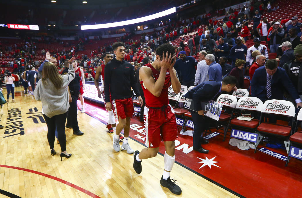 UNLV's Marvin Coleman reacts after losing to UNR in overtime in their basketball game at the Th ...