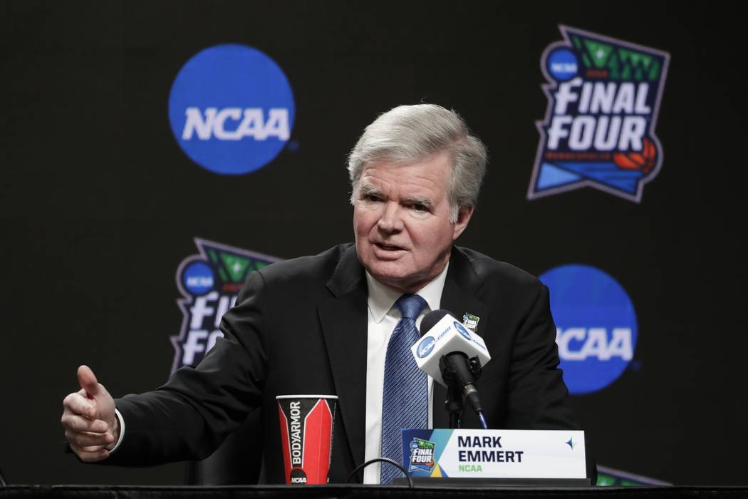 FILE - In this April 4, 2019, file photo, NCAA President Mark Emmert answers questions at a new ...