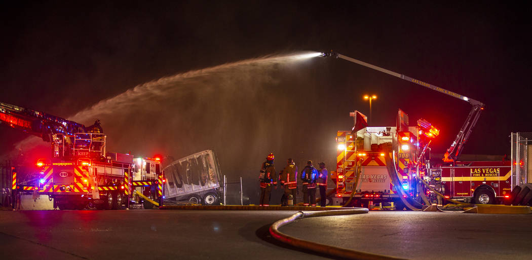 North Las Vegas Fire and Las Vegas Fire departments knock down a fire on Monday, Feb. 10, 2020, ...