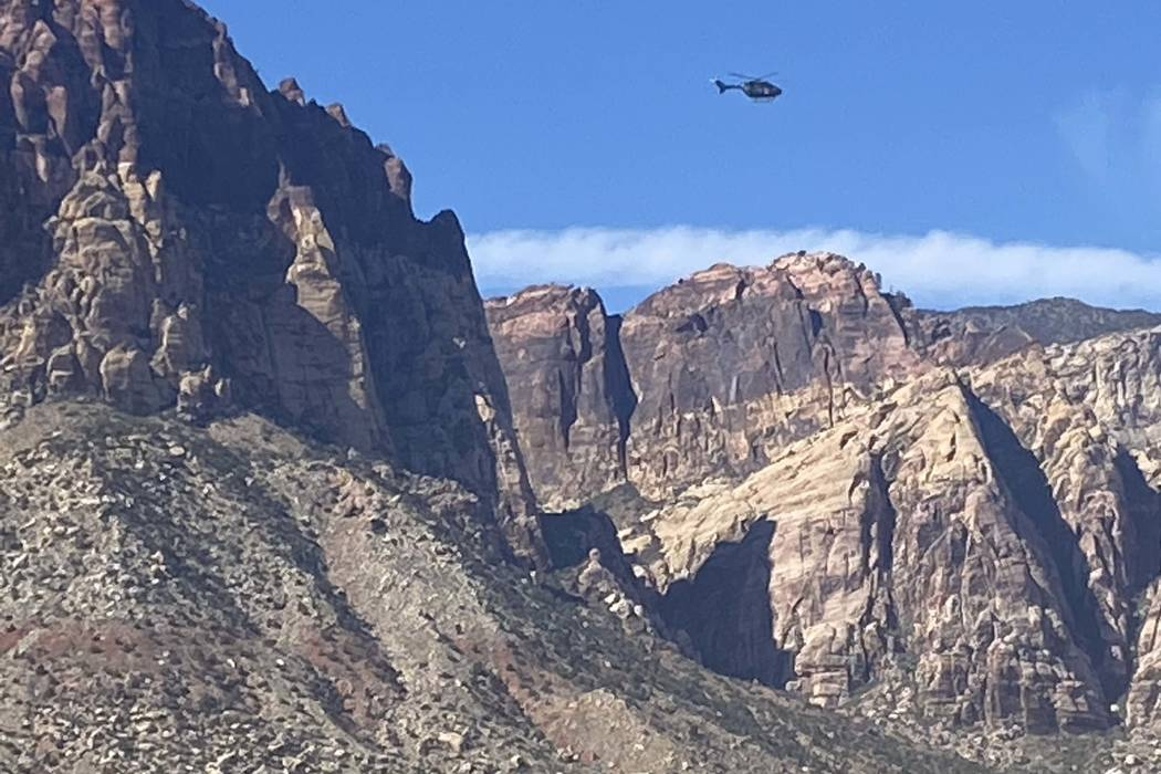 A helicopter above Red Rock Canyon searching for missing hiker Ronnie Lucas on Tuesday, Feb. 11 ...