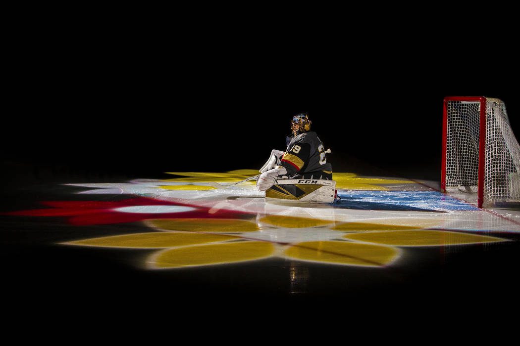 Vegas Golden Knights goaltender Marc-Andre Fleury (29) is announced before the start of an NHL ...