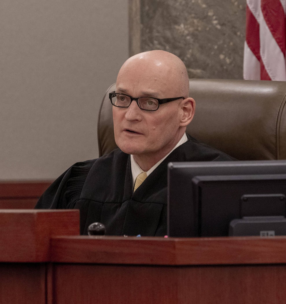 Judge Rob Bare advises protocol during a hearing regarding the Alpine Motel Apartments fire, at ...