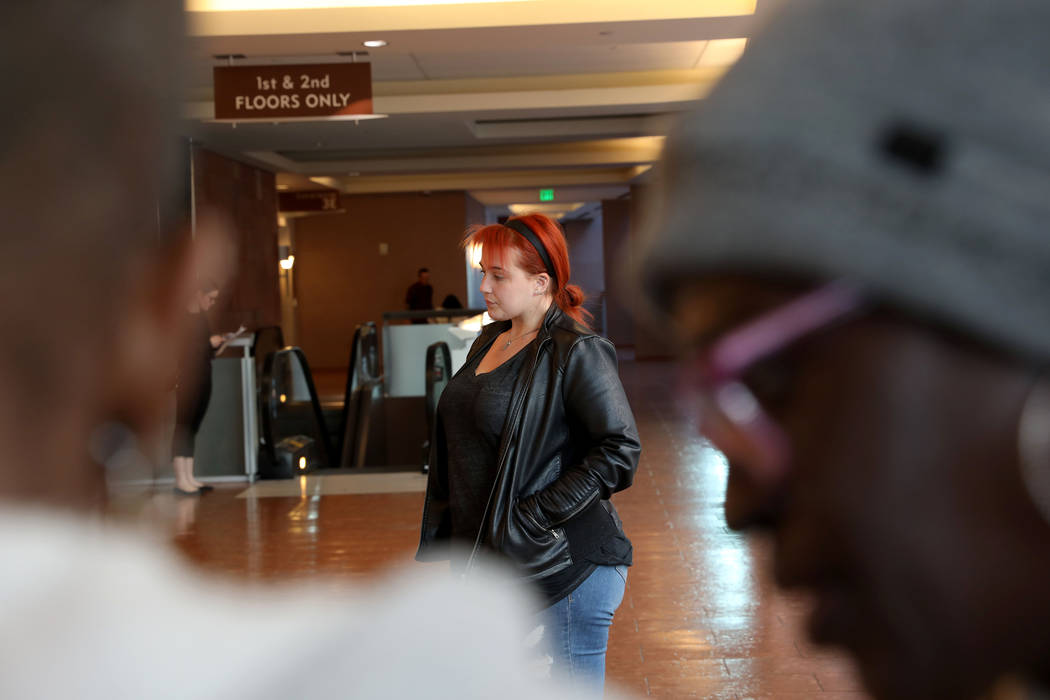 Displaced Alpine Motel Apartment tenant Scotti Hughes stands outside of the courtroom after a h ...