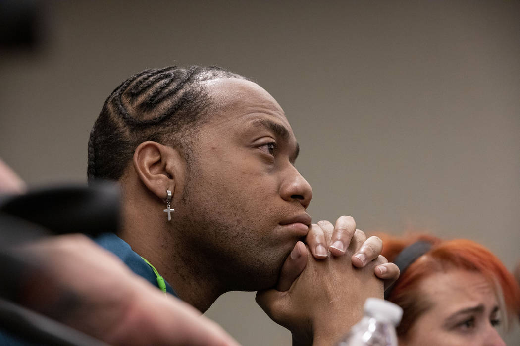 Displaced Alpine Motel Apartments tenant Timothy Henry listens to the judge during a hearing re ...