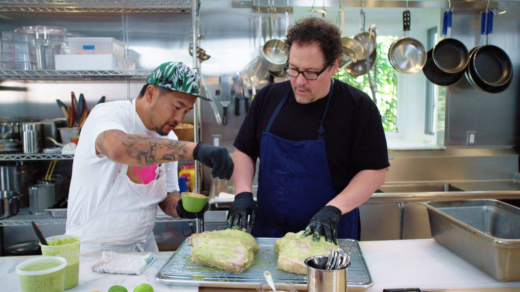 """Roy Choi and Jon Favreau appear in a scene from """"The Chef Show."""" (Netflix)"""