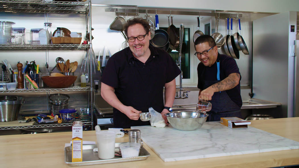 """Jon Favreau and Roy Choi appear in a scene from """"The Chef Show."""" (Netflix)"""