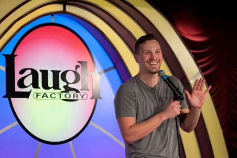 Rocky Dale Davis performs one of the opening acts at The Laugh Factory Comedy Club on Saturday, ...