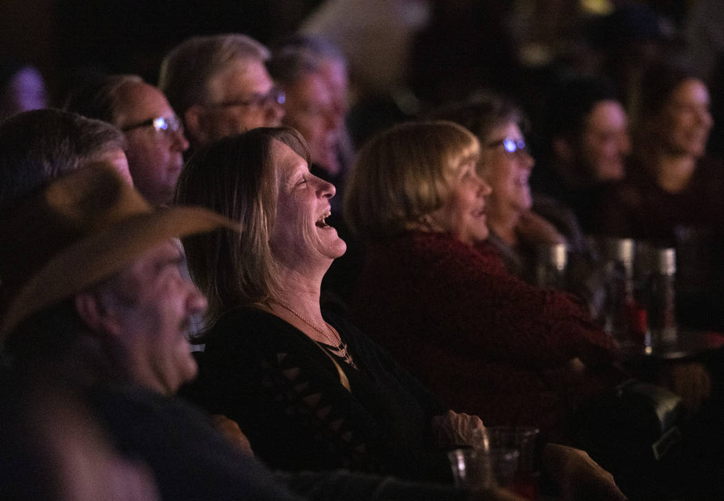 The audience at The Laugh Factory Comedy Club enjoys Shayma Tash's set on Saturday, Feb. 2020 i ...