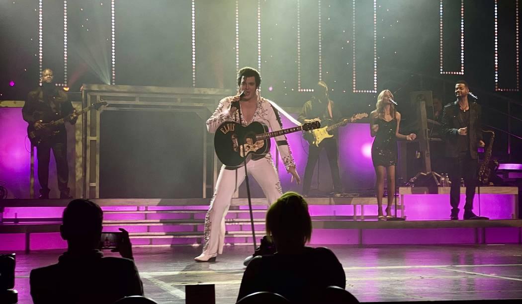 """Matt Lewis as Elvis is shown in """"Legends In Concert"""" on Monday, Feb. 10, 2020. (John Katsilomet ..."""