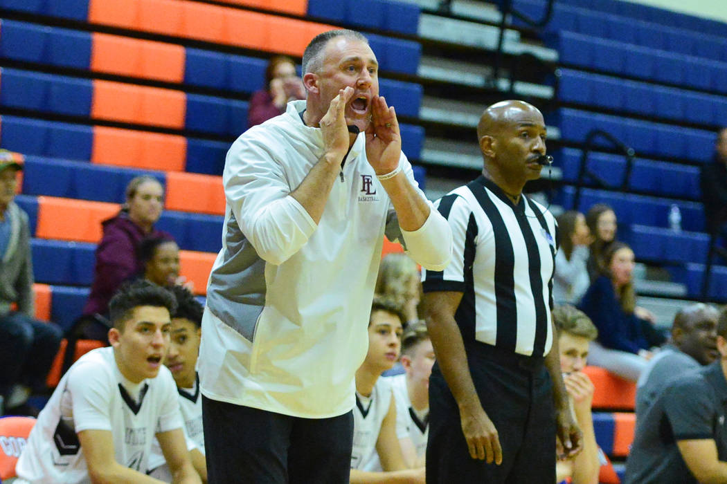 Faith Lutheran head coach Bret Walter shouts to his team during a game between Liberty High Sch ...