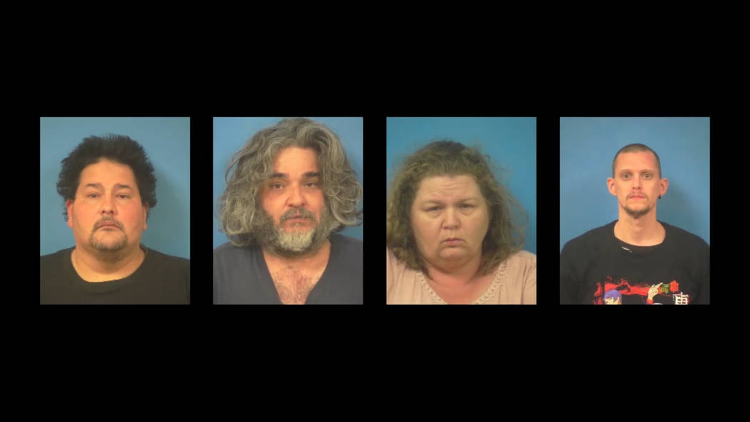 Screenshot of Nye County Sheriff's Office's video statement on four suspects arrested on suspic ...